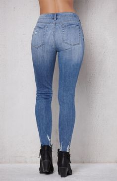 Bow Blue Ripped Mid Rise Skinny Ankle Jeans