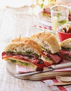 Steak sandwiches are always a hit, and this Italian Steak Sandwich with pesto, grilled red peppers, and melted provolone, is a knockout for dinner. Italian Steak Sandwich Recipe, Steak Sandwich Recipes, Wrap Sandwiches, Steak Sandwiches, Vegetarian Recipes, Cooking Recipes, Grill Recipes, Lamb Recipes, Dinner Recipes