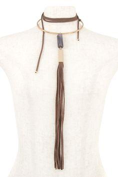 Elongated Wrap Stone Pendant Tassel Choker Necklace | Wholesale LookBook
