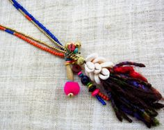 Colorful Beaded Hippie Long Tassel Necklace Orange Blue Stones with Brass and Wood Bead and a Yak Wool Tassel Gift for Her Gift Ideas by midgetgems. Explore more products on http://midgetgems.etsy.com