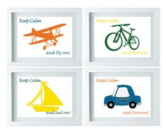 Wall Art for Boys Room Transportation Wall Art Toddler Room Decor Boat Airplane Car Bicycle Playroom Decor Set of 4-8X10 Prints