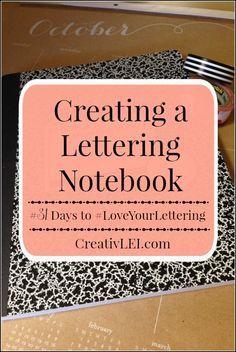Creating a Lettering Notebook {#LoveYourLettering} - CreativLEI Hand Lettering For Beginners, Hand Lettering Practice, Hand Lettering Tutorial, Hand Lettering Fonts, Doodle Lettering, Creative Lettering, Handwritten Letters, Lettering Styles, Brush Lettering