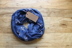 Navy Swallow Infinity Scarf Dark Blue Navy Soft by PeddlingPanda