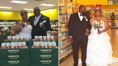 Couple that met in grocery store get hitched in the produce section.