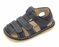 Squeaky Shoes For Toddlers | Boys Black Adjustable Strap Sandals