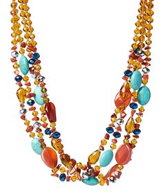 This Amber-Tone Agate & Magnesite Four-Strand Beaded Necklace by Pavcus Designs is perfect! #zulilyfinds