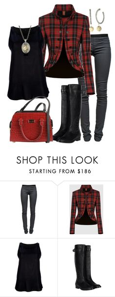 """""""leggings and riding boots"""" by smhallam ❤ liked on Polyvore featuring Helmut Lang, Dondup, Theyskens' Theory, AllSaints, Michael Kors, Tat2 Designs, top handle bags, military jackets, long pendant necklaces and knee high boots"""