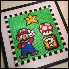 Framed Super Mario perler bead art by manuuu81