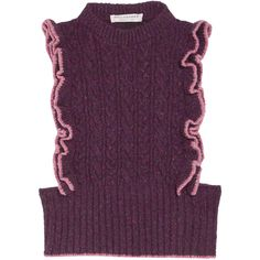 Philosophy di Lorenzo Serafini Ruffled cable-knit wool-blend sweater ($130) ❤ liked on Polyvore featuring tops, sweaters, purple, ruffle sweater, wool knit sweater, layered tops, layered ruffle tops and chunky cable knit sweater