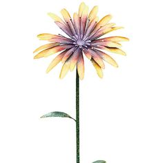 Transpac Imports Yellow & Violet Flower Garden Stake ($30) ❤ liked on Polyvore featuring home, outdoors, outdoor decor, outdoor patio decor, outdoor garden decor and flower stem