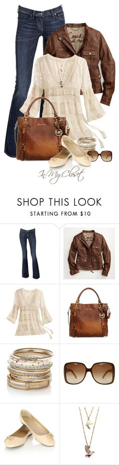 """""""Michael Kors Bedford Ostrich Tote"""" by in-my-closet ❤ liked on Polyvore featuring Citizens of Humanity, Coach, MICHAEL Michael Kors, Accessorize, Gucci and Oasis"""