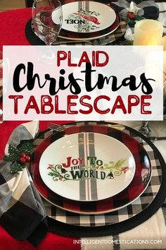Create a Plaid Christmas Tablescape using items from around the house and yard like I did with this one. My table runner is actually a blanket scarf. #tablescape