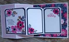 Stampers Showcase – Everything is Rosy Double Z Fold card – Crafty-rootes – Katharina Schultheiss Z Cards, Step Cards, Fun Fold Cards, Folded Cards, Stampin Up Cards, Quick Cards, Baby Cards, Birthday Cards For Women, Handmade Birthday Cards