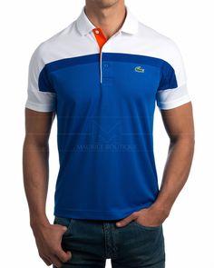 Polos Lacoste Colección Sport  Polos Lacoste en azul royal y blanco Polos Lacoste 100% poliéster Polo Shirt Style, Polo Shirt Design, Mens Polo T Shirts, Polos Lacoste, Lacoste Sport, Polo Fashion, Mens Clothing Styles, Sport Outfits, Casual Shirts