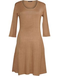 Jersey dress with three-quarter sleeves in Caramel