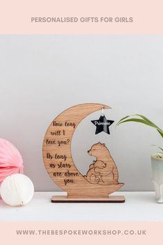 'How long will I love you? As long as stars are above you.'A gorgeous display decoration, engraved with the wording above, along with a personalised name, or two, within the star.The star is made from silver mirrored acrylic #nurserygifts #newbaby #thinkingofyougifts # giftsforbabies #giftsforher #giftsforhim #personalsiedgifts # bespokegiftsuk Girly Gifts, New Baby Gifts, Gifts For Girls, Baby Room Design, Baby Room Decor, Nursery Decor, Neutral Nurseries, Nursery Neutral, Girls Bedroom