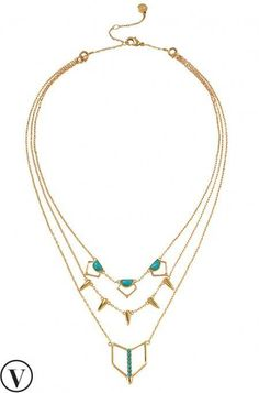 Beautiful gold Turquoise Stone Layering Necklace includes three separate strands you can wear apart or together. Only by Stella & Dot. | www.stelladot.com/sashataylor |