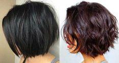 dunkle-kurze bob Haarschnitte mit Schichten 2018