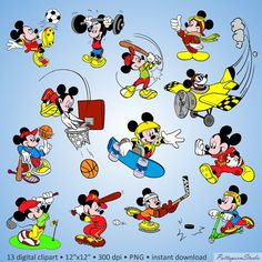 Digital Clipart Mickey Mouse Sport Party Clipart