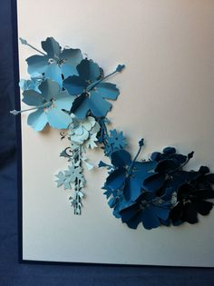 Ombre blue card blanco Stiletto Shoe with Flowers by Bermarc