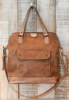 Leather purse Oversized crossbody bag Light brown by Percibal