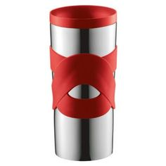 The red 0.45 litre Travel Mug by Bodum allows you to have your favourite brew on the go. With a stainless steel outer shell the Travel Mug is designed for maximum heat retention. A vacuum seal makes it spill-proof while the flow of fluids can be adjusted by turning the screw within the lid. Silicone bands add a playful pop of colour. The Travel Mug is dishwasher safe for easy cleaning.