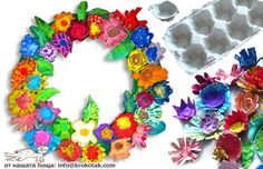 This site isn't in English--but I so loved these little egg carton blossoms. I would use acrylic paint or water color markers.