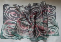 Silk Scarves – Hand painted silk neck scarf in pink, grey – a unique product by EveSilkBatik on DaWanda