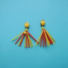 Vintage Plastic Earrings -Yellow&Orange Plastic Earrings, Drop Earrings, Orange, Yellow, Shop, Vintage, Jewelry, Jewlery, Jewerly