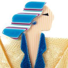 Lea Stein Carmen Joan Crawford Art Deco Brooch Creams + Blue