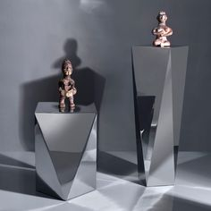 CARAT, Side Table & Pedestal; polished stainless steel.  Designed by:GAMA ~Georges Amatoury. To be ordered online through www.levantania.com
