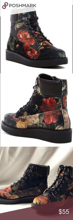 b5fe5e27bb006b MIA Prepster V Black Floral Velvet Boots. MIA Prepster V Black Floral  Velvet Boots.