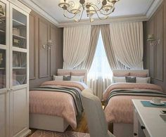 Adorable 34 Sophisticated Bedroom Design Ideas For Your Cute Twins Twin Girl Bedrooms, Sister Bedroom, Girls Bedroom, Twin Bedroom Ideas, Small Room Bedroom, Home Decor Bedroom, Twin Room, Room Decor, Dream Rooms