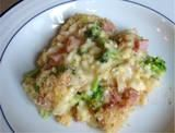 Ham Broccoli Rice and Cheese Casserole from Food.com:   								This is really good and can be made ahead and popped into the oven half an hour before eating! You can also change the type of creamed soups used to your liking.