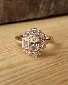 Emerald Cut Sapphire and Diamond Halo Ring by kateszabone on Etsy
