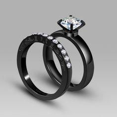 274634c3d Cubic Zirconia Engagement Wedding Ring Black Wedding Ring Sets, Purple  Wedding Rings, Black Wedding
