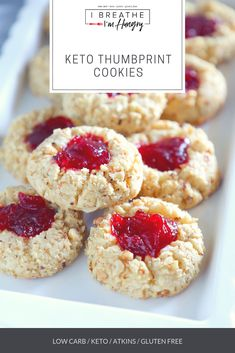 These keto thumbprint cookies have all of the elements of your favorite classic thumbprint cookie! A pillowy soft vanilla scented cookie,… Low Carb Sweets, Low Carb Desserts, Low Carb Recipes, Dessert Recipes, Free Recipes, Keto Cookies, Basic Cookies, Cream Cookies, Lactation Cookies