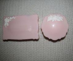 Vintage Vanity Set / Pink Compact Dresser Set / by VendageTresors