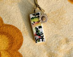 Sunflower Charm and a sweet necklace.  Italy Abstract Landscape Tile Necklace with by bonnieline on Etsy, $37.00