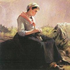 'Knitting', 1887 - by Anna Elizabeth Klumpke (1856-1942)