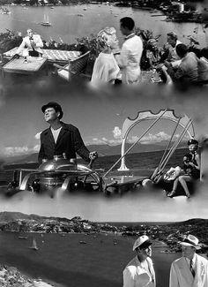 Collage de fotos de la Dama de Shanghai de Orson Wells  Acapulco 1946