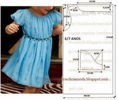 Moldes Moda por Medida: VESTIDO DE CRIANÇA 6/7 ANOS