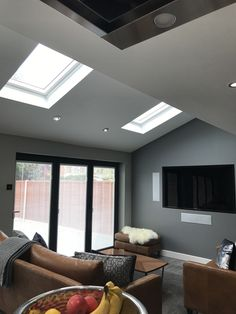 Extension with bi-folding doors that have blinds in the glass and electronic velux windows Room Design, House, House Extensions, Living Room Design Diy, Open Plan Kitchen Dining, Bifold Doors, Open Plan Kitchen Living Room, Living Room Diy, Living Room Designs