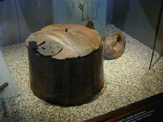 Wooden box from the Oseberg ship that contained a variety of textile tools.