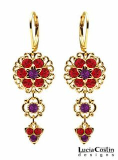 24K Yellow Gold over .925 Sterling Silver Flower Shaped Earrings by Lucia Costin with Lace Ornaments, Violet and Red Swarovski Crystals, Ornate with 4 Petal Flower and Fancy Charms; Handmade in USA Lucia Costin. $63.00. Mesmerizing enough to wear on special occasions, but durable enough to be worn daily. A perfect feminine touch. Unique jewelry handmade in USA. Lucia Costin flower shaped drop earrings. Beautifully designed with purple and light siam Swarovski ...