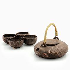 TEA SET SHAGREEN BAYON Lotus Plant, Tea Pot Set, The Potter's Wheel, Angkor, Handmade, Water, Image, Colors, Home