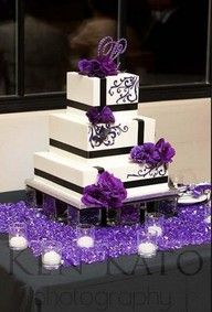 I like the square cake but maybe with silver ribbon or rhinestones instead of black and pink flowers instead of purple