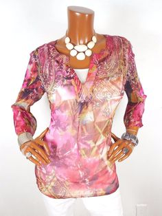 CHICO'S Sz 1 Womens Top S M Pink Print Tunic Blouse Casual Shirt Sheer Loose Fit #Chicos #Blouse #Casual