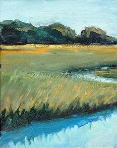 Marsh Landscape Paintings   Original Oil Painting Marsh Landscape by Casey by ScharlingArt