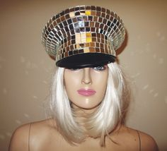 Disco Ball Mirror Officers Cap Hat by Apocalesque on Etsy https://www.etsy.com/listing/199344351/disco-ball-mirror-officers-cap-hat